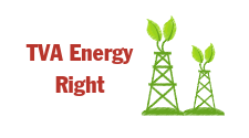 This is an icon labeled TVA Energy Right and has drawings of 2 towers with green leaves on top. It is the hotlink button for click through to TVA Energy Right information.