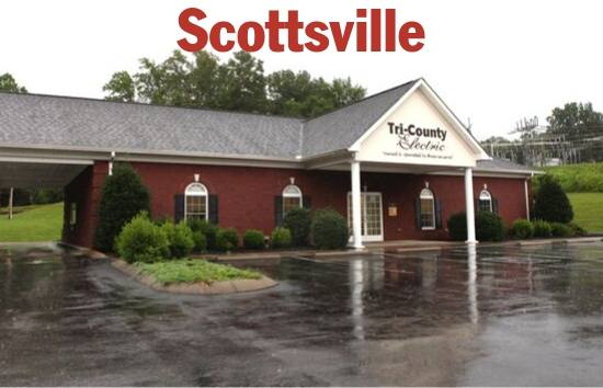 Photo of the front of the Scottsville, KY Tri-County Electric office.