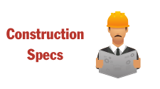 This is a graphic of Construction Specs. It depicts a man wearing a hardhat. It is used on the site as a hotlink for construction specs.